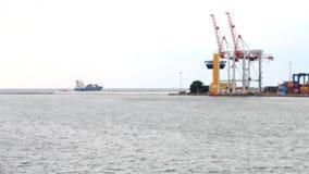 Port cranes blurred background stock footage