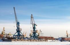 Port cranes in cargo port of St.Petersburg Stock Image