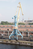Port cranes with cargo train. Stock Photo