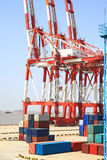 Port cranes and container trade Stock Image