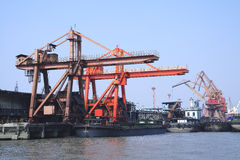 Port cranes and container trade Royalty Free Stock Photos