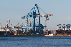 Port with cranes and containers Stock Photography