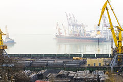 Port with cranes, dock and railway ships Stock Photo