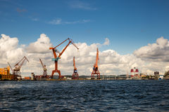 Port with Cranes in Gothenburg Stock Images
