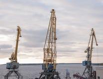 Port cranes at the port of loading platform. royalty free stock images