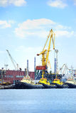 Port with cranes and ships Stock Image