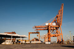 Port cranes shown horizontally Stock Image