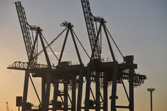 Port cranes silhouette Royalty Free Stock Photos
