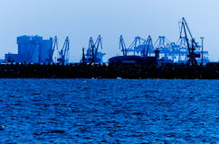 Port Cranes Silhouettes Stock Image