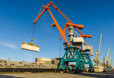 Port cranes and transport ship Stock Photos
