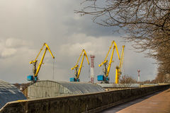 Port cranes in the Vyborg at spring Stock Image