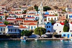 Port d'île de Chalki Photographie stock libre de droits