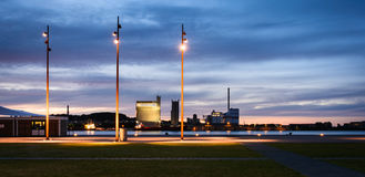 Port d'Aalborg - soirée pendant l'heure bleue IV photo libre de droits