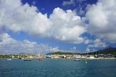 PORT D`ALCÚDIA, MAJORCA, SPAIN - OCTOBER 5, 2018: Port de Alcudiamar Marina, a shallow yacht harbor in a touristy area. royalty free stock images