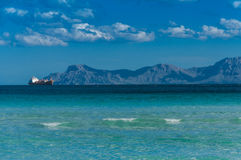 Port d'Alcudia. Ship on sea near  Alcudia  in Spain island Mallorca  at  late summer Royalty Free Stock Images