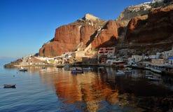 Port d'Ammoudi chez Santorini Grèce, Cyclades Images libres de droits