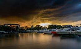 Port d'Ancol pendant le matin, Jakarta Indonésie photos stock