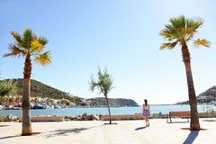 Port d'Andratx harbor, Mallorca - tourist walking Stock Image