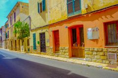 PORT D ANDRATX, SPAIN - AUGUST 18 2017: Beautiful view of small old steet in Port D Andratx town, located in Mallorca Royalty Free Stock Photography