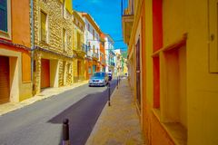 PORT D ANDRATX, SPAIN - AUGUST 18 2017: Beautiful view of small old steet in Port D Andratx town, located in Mallorca Stock Image