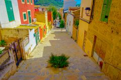 PORT D ANDRATX, SPAIN - AUGUST 18 2017: Beautiful view of small old steet in Port D Andratx town, located in Mallorca Stock Photo