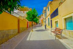 PORT D ANDRATX, SPAIN - AUGUST 18 2017: Beautiful view of small old steet in Port D Andratx town, located in Mallorca royalty free stock image