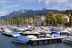 Port d'Evian-les-Bains en France Photos libres de droits