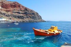 Port d'Oia, île de Santorini, Grèce Images libres de droits