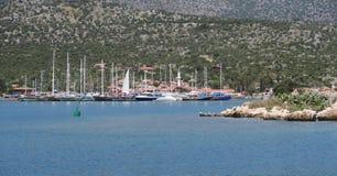 Port d'Ucagiz près de l'île de Kekova et de la ville submergée Simena en Turquie Images stock