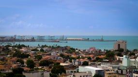 Port de ³ de maceià avec la vue de ville images libres de droits