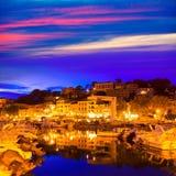 Port de索勒日落在巴利阿里群岛的马略卡 免版税库存照片