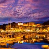 Port de索勒日落在巴利阿里群岛的马略卡 库存照片
