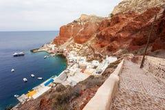 Port de baie d'Amoudi, Santorini Photos libres de droits