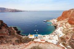 Port de baie d'Amoudi, Santorini Images libres de droits