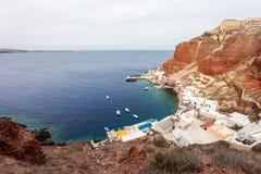 Port de baie d'Amoudi, Santorini Photographie stock libre de droits