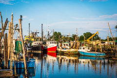 Port de banc de bateaux de pêche Photo libre de droits