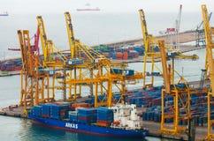 Port de Barcelona -  logistics port area Stock Image