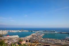 Port de Barcelone à la mer Méditerranée Images libres de droits