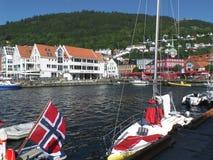 Port de Bergen dans un beau jour ensoleillé, Norvège Images libres de droits