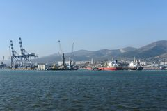 Port de cargaison dans Novorossiysk photos libres de droits