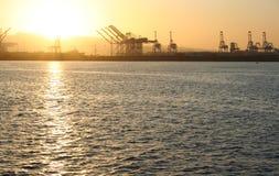 Port de coucher du soleil de Long Beach Photographie stock