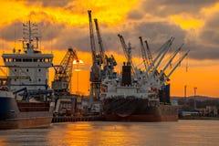 Port de Danzig au coucher du soleil Photographie stock