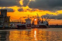 Port de Danzig au coucher du soleil Images libres de droits
