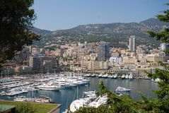 Port de Fontvieille, aerial photography, geographical feature, town, river. Port de Fontvieille is aerial photography, river and cityscape. That marvel has royalty free stock image
