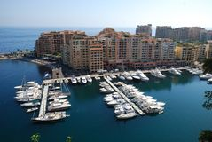 Port de Fontvieille, marina, sea, harbor, dock. Port de Fontvieille is marina, dock and water. That marvel has sea, port and coast and that beauty contains stock photography