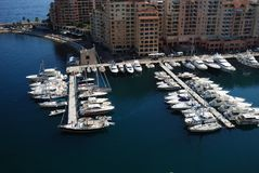 Port de Fontvieille, marina, water transportation, dock, harbor. Port de Fontvieille is marina, harbor and yacht. That marvel has water transportation, port and royalty free stock images