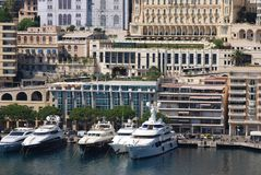 Port de Fontvieille, marina, water transportation, harbor, dock. Port de Fontvieille is marina, dock and city. That marvel has water transportation, urban area stock images