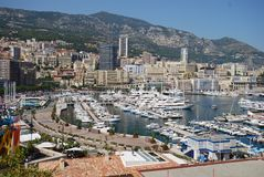 Port de Fontvieille, Monte-Carlo, aerial photography, bird`s eye view, city, town. Port de Fontvieille, Monte-Carlo is aerial photography, town and neighbourhood stock image
