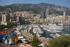 Port de Fontvieille, Monte-Carlo, aerial photography, town, cityscape, city. Port de Fontvieille, Monte-Carlo is aerial photography, city and landmark. That royalty free stock image