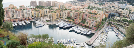 Port de Fontvieille. Panoramic view of the Port de Fontvieille, in Monaco-Ville, Monaco Royalty Free Stock Photography